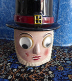Sugar Shaker Muffineer Welsh Lady Googly Eyes 1930s Figural Sugar Caster