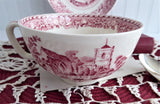 Red Transferware Breakfast Size Cup And Saucer 1930s Woods Waltham Abbeys Rare
