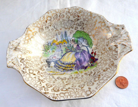 Art Deco Candy Dish Crinoline Lady Chintz H and K 1930s English Gold Chintz