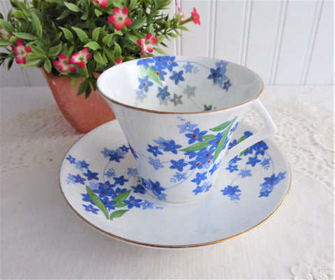 Art Deco Cup And Saucer Blue Forget Me-Nots Red Enamel Accents 1930s