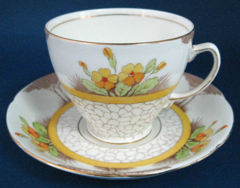 Cup And Saucer Art Deco Trees Cobbled Path Colored 1940s