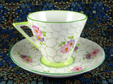 Art Deco Cup And Saucer Phoenix England Forester Lime Green Pink 1930s