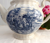 Blue Transferware Hunt Scene Teapot English Ironstone 1930s