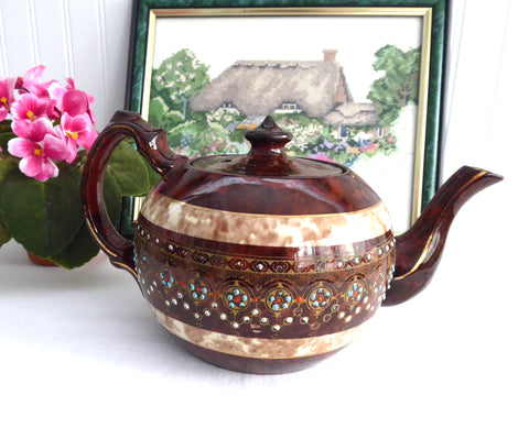 Teapot Brown Betty 2 Tone Rockingham Glaze Large 8 Cup 1930s Hand Painted Enamel Gold
