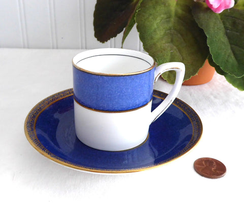 Art Deco Cup Saucer Carlton Ware Grafton Demitasse 1930s Blue Marble Marriage