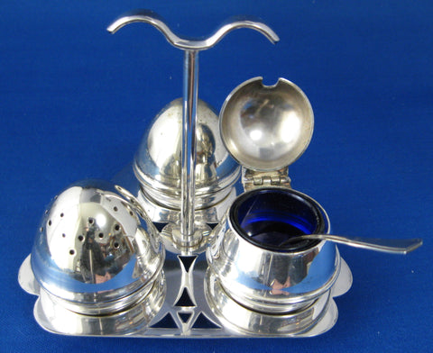 Art Deco Salt Pepper Mustard Tray Set Egg Shape 8 Piece Set 1930s Cobalt Blue Glass EPNS