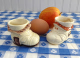 Pair of Egg Cups English Boot House Red Roof Nursery Rhyme 1930s Vintage Old Lady