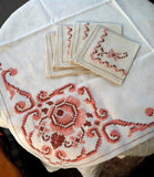 Embroidered Tablecloth And Napkins 1930s Tea Cloth Bridge Cloth Salmon