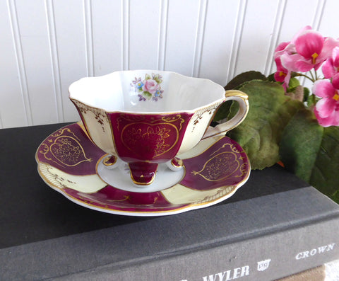 Footed Cup And Saucer Japan Maroon Cream Panels Gold Overlay Hearts 1930s
