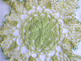 Spidery Lace Green Doily Vintage English Thread Crochet Large Hand Made 1930s