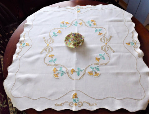 Hand Embroidered Tablecloth 1930s Tea Cloth Thistles Bridge Cloth Table Cloth