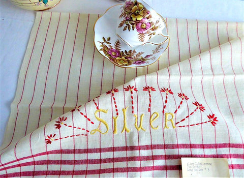 Dish Towel 1930s Tea Towel Hand Made Embroidered Silver Cloth USA Artisan