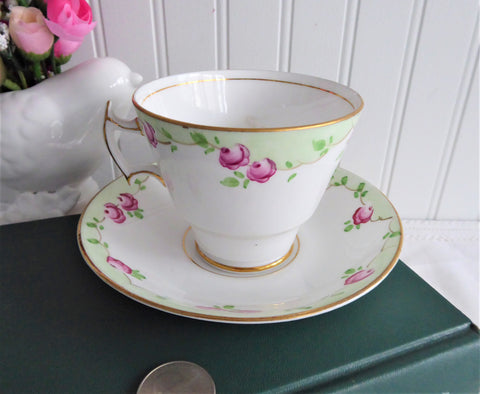 Sweet Rosebud Hand Painted Cup And Saucer Phoenix England Forester 1930s