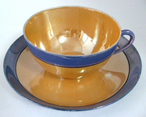 Cup And Saucer Japanese Luster Blue And Gold Iridescent 1930s Meito Vintage