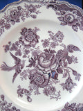 Bristol Lunch Plate Purple Transferware Shabby Chippy Ironstone 1930s Asiatic Pheasants