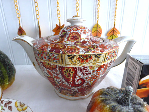 English Teapot Brown Paisley Chintz Tea Pot 1930s Vintage Art Deco Shape