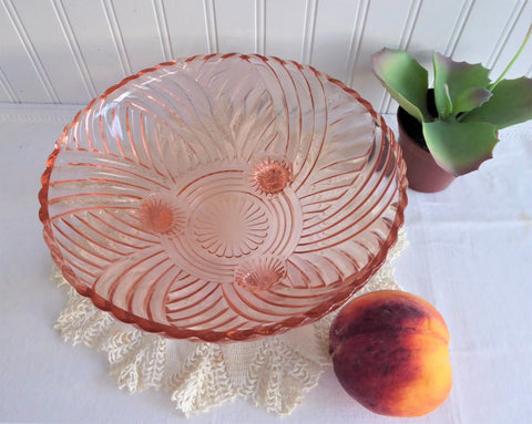 Pink Glass Footed Bowl 1940s Large Anchor Hocking Prismatic Swirl Depression Glass