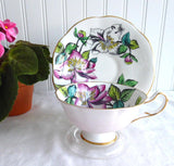 Blushing Pink Rosina Lilies Cup And Saucer Artist Signed Bentley Hand Colored 1930s