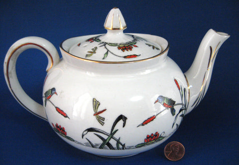 Transferware Teapot Birds Insects Art Deco River Scene Hand Colored Water Lilies 1920s