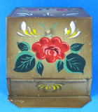 Folk Art Hand Painted 1930s Tole Tea Tin Tea Bin Tin Canister Tin Kitchenalia Storage Tin