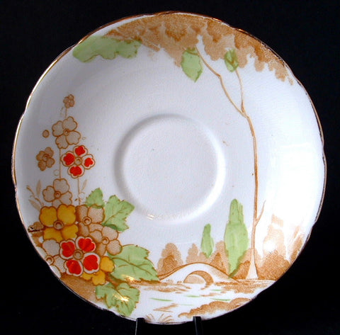 Saucer Art Deco Plate England Landscape Bridge 1930s Enamel Accents Wellington