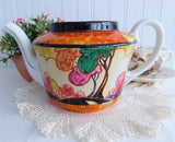 Teapot Art Deco Cottage Artist Signed 1932 Orange Trees Hand Painted TLC