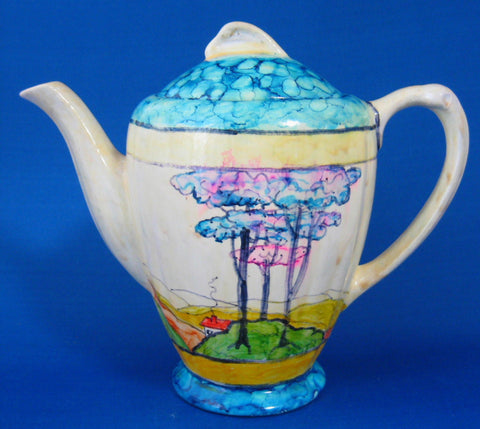 Art Deco Cottage Tall Teapot Coffee Pot 1933 Hand Painted Artist Signed England
