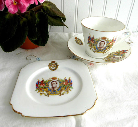 Coronation Teacup Trio King Edward VIII 1937 Cup and Saucer Abdicated Art Deco