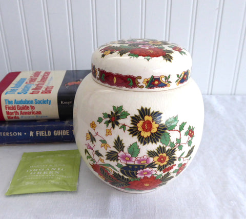 Sadler Ginger Jar Tea Caddy Indian Tree Pattern 1937-1947 Tea Canister 5.25 Inch