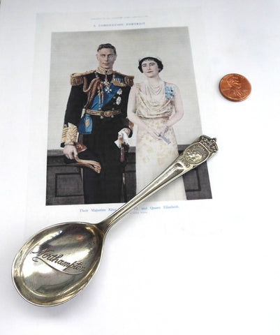 Coronation Souvenir Sugar Spoon King George VI Queen Elizabeth 1937 Northampton
