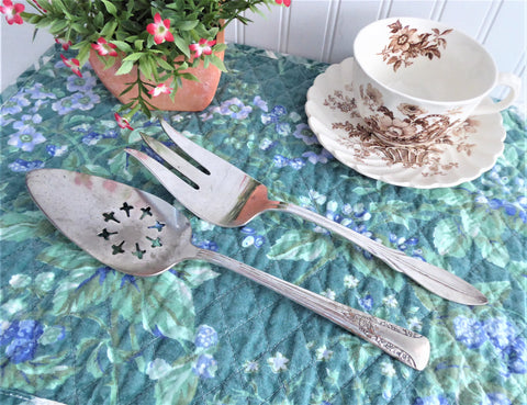 Vintage 2 Serving Pieces Pie Server Large Fork 1940s Camelia 1960s El California Shabby Silverplate
