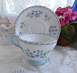 Shelley Blue Rock Cup And Saucer Henley Shape 1950s Scroll Border