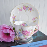 Shelley Pink Floral Dainty Shape Cup and Saucer English Bone China Pink Gold Trim