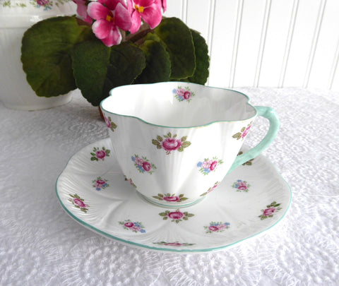 Shelley Teacup And Saucer Rosebud Dainty Shape blue Trim Bone China