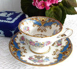 Blue Sheraton Shelley England Cup and Saucer Gainsborough Shape 1950s Pedestal