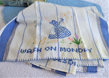 Set Of 4 Day Of The Week Dish Towels 1940s Tea Towel Hand Embroidered Dutch Girl