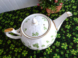Teapot Aynsley Shamrock Tea Pot 1938-1959 Crocus Shape Bone China Irish Shamrocks