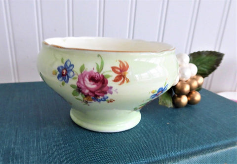 Aynsley Sugar Bowl Only English Bone China Vintage 1940s Green Floral Bouquets
