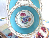 Turquoise Cup And Saucer Aynsley Gold Overlay Floral Bouquet 1940s