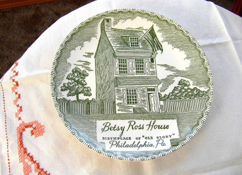 Green Transferware Betsey Ross House Souvenir Plate Royal China 1940s