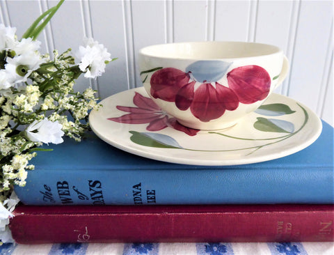 Cup And Saucer Blue Ridge Poinsettia Teacup 1940s Colonial Shape Holiday