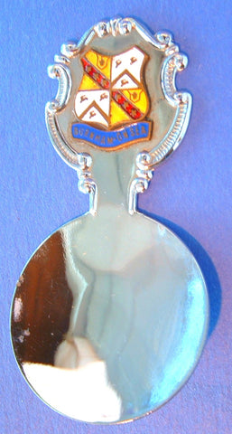 Tea Caddy Spoon Burnham On Sea 1940s English Souvenir Chrome Enamel Tea Scoop