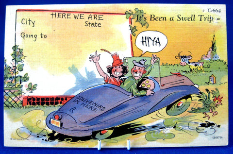 Motoring Comics Postcard 1940s Curt Teich Ephemera Been A Swell Trip Linen Divided