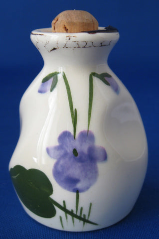 Devon Violets Ceramic Perfume Bottle Hand Painted 1940s Mottoware Clay