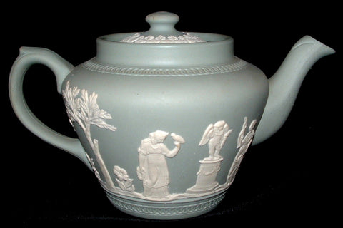 Dudson England Teapot Sage Green Jasperware Classical Motif 1940s Afternoon Tea
