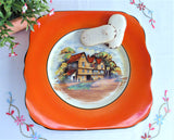 Orange Border Vintage English Pub Cake Plate Floral 1940s Sandwich Server