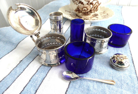 English Hallmarked 1940s Salt Pepper Mustard Spoon 7 Piece Set Cobalt Blue Glass Liners Suckling Ltd
