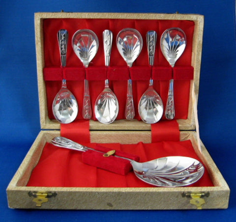 Boxed Dessert Spoon Set Of 7 Berry Trifle Set England 1940s Trifle Set Stainless