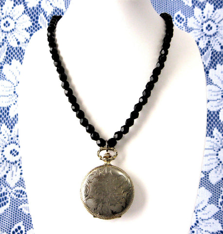 Elgin Pocket Watch Pendant Necklace Black French Jet Faceted Beads 1940s Elegant