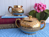 Cream And Sugar Gibsons Blue Peach Gold Vintage 1940s English Pottery